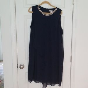 Navy sleeveless dress with gold detail size 22